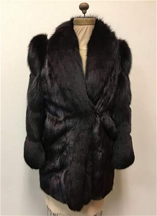 SAGA Ranch Mink with Black Fox Trim Fur Coat