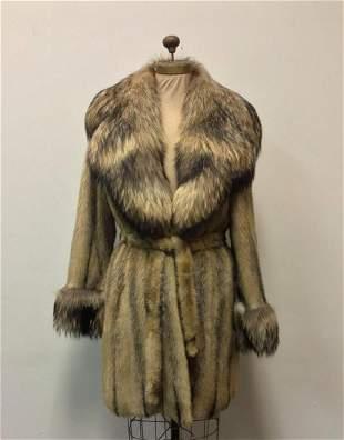 Brown Shadow Mink Fox Fur Coat