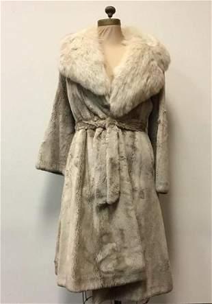Beige Beaver Coat with Fox by Bifanos