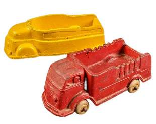 Vintage Sun Rubber Diecast Metal Fire Truck And Truck