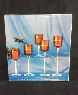 Set of 5 Long Stemmed Red with Gold Votive Candle