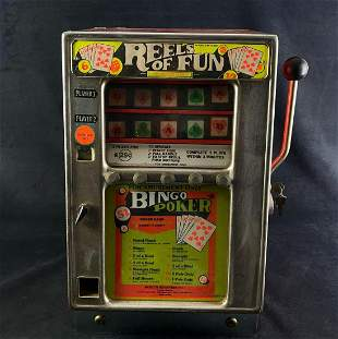 "Antique ""Reels Of Fun "" 25 Cent Slot Machine & Key"