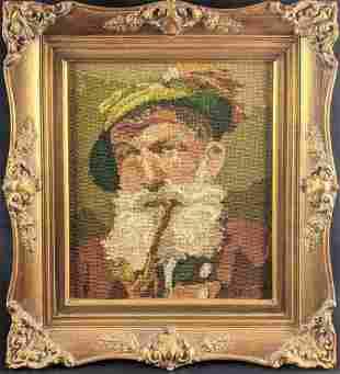 Vintage Folk Art Needle Point German Man Framed