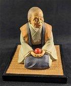 Vintage Hakata Urasaki Doll Old Woman With Apple