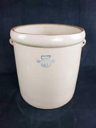 5 Gallon Salt Glaze Handled Stoneware Pot