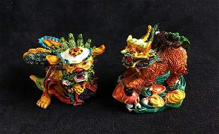 Dragon Tiger Lion Chinese Art Figurines Lot A