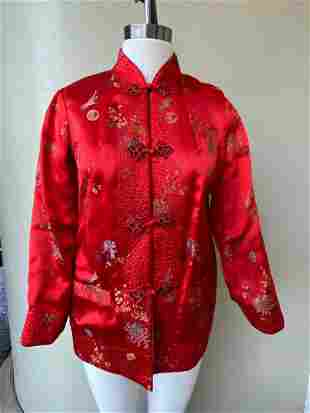 Vintage Asian Quilted Peony Brand Shanghai Red & Black