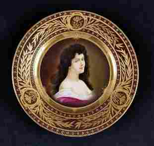Antique Royal Vienna Style Portrait Cabinet Plate Of
