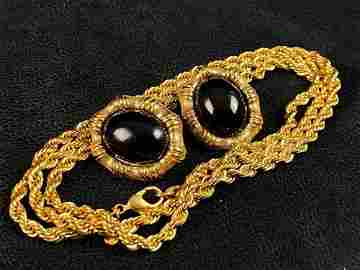 Vintage Gold Plated Rope Necklace & Earrings