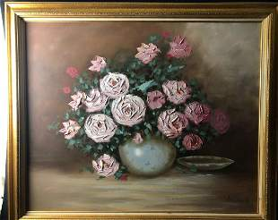 Original Vintage Still Life Flowers Oil Painting By