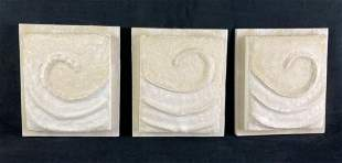 (3) Plaster and Wood Swirl House Decorations