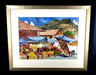 "Original Watercolor "" Market - Santa - Clara De Cobre"""