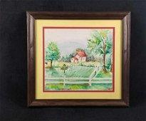 Original Watercolor Home Within Fence Landscape Alva