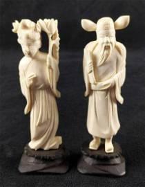 White Resin Figurines Shou Kwan Yin And Lu Xing