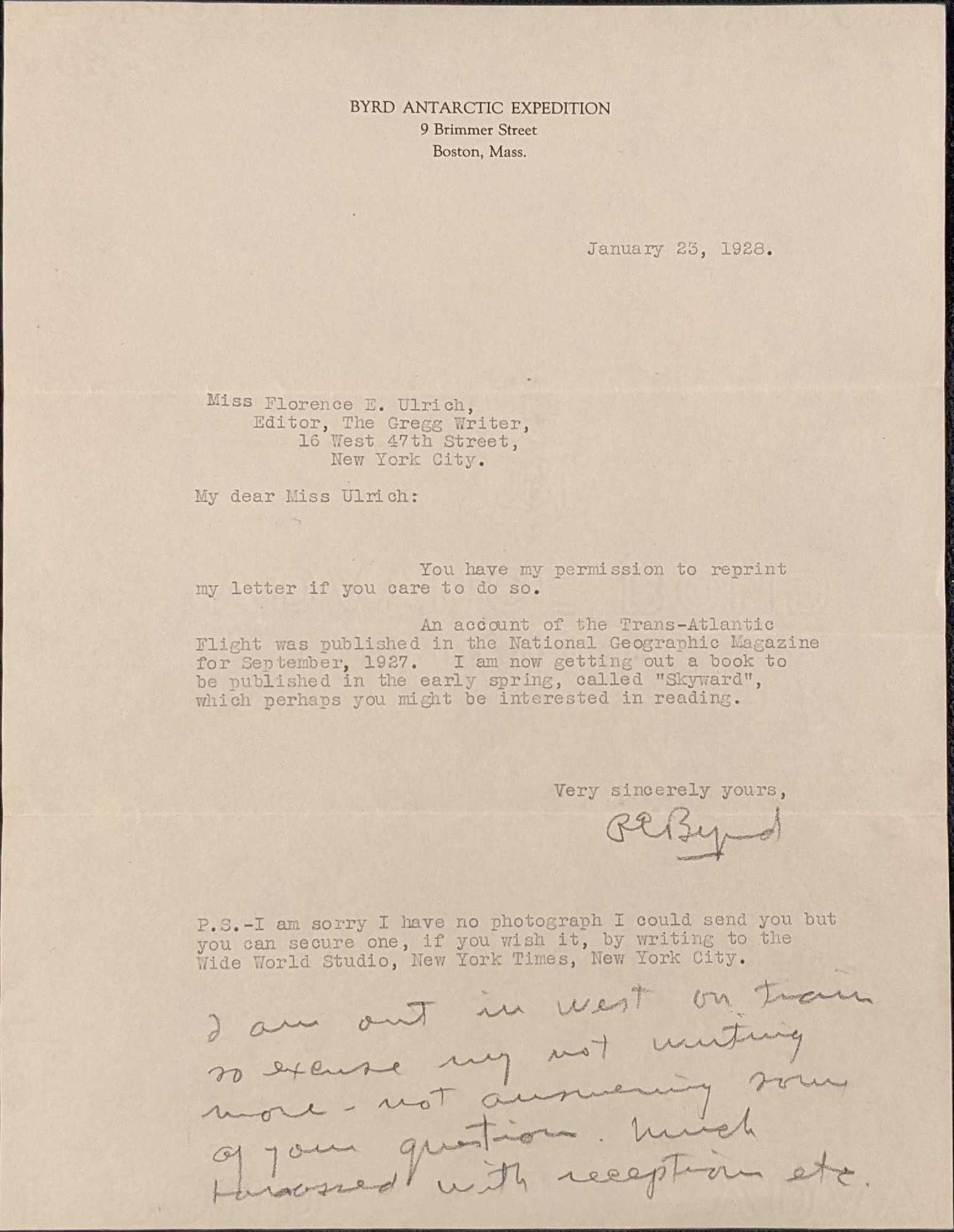 Richard E. Byrd Typed And Hand Written Signed Letter