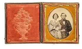 Antique Tintype Portrait W Gutta Percha Case Couple