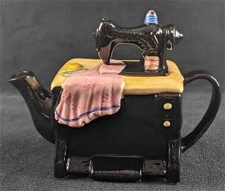Ceramic Cardinal Inc Sewing Machine Collectable Tea Pot