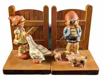 Goebel Hummel Goose Girl & Farm Boy Pair TMK2 Bookends
