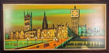 Vintage Original Painting Palace of Westminster Big Ben