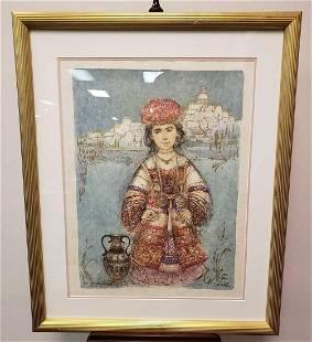 Edna Hibel Signed Framed Lithograph