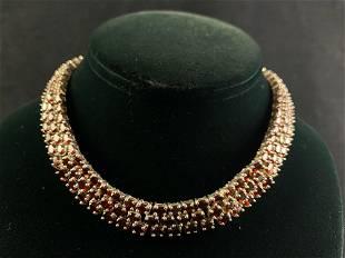 Sterling Silver Garnet Oval Cut 3 Row Choker Necklace