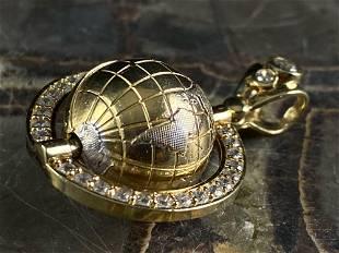 Vintage 10K CZ Gold Bezel Spinning 3D Globe Charm