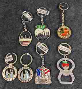 Seven Pewter Metal New York Keyrings Keychains World