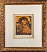 Framed Hand Signed Pablo Picasso Toros Vallauris