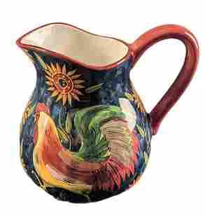 Susan Winget Sunrise Rooster Ceramic Pitcher