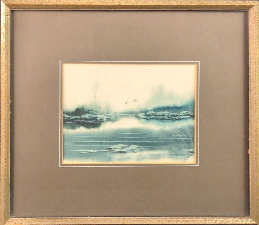 Original Framed Pen And Ink Steven Cryan Geese X1