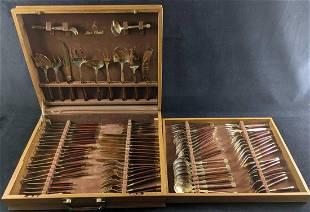 Complete Jean-Claude Flatware Set Bronze & Rosewood