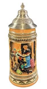 Vintage German Beer Stein With Lid Woodcutters