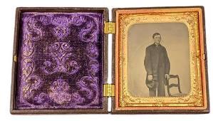 Antique Tintype Portrait W Gutta Percha Case Young Man