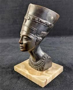 Vintage Bronze Queen Nefertiti Bust On Marble Base