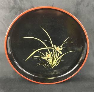 Vintage Lacquer Ware Tray with Handles and 5 Matching