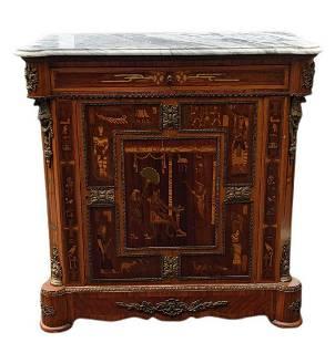 Vintage Cherry Wood, Marble & Brass Sideboard