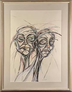 Framed Original Mixed Media Odd Women