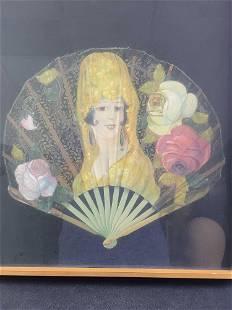 Hand Painted Lace Fan Art