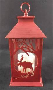 Decorative Moose Lantern W Flickering LED Candle