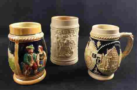 3 Traditional Ceramic German Drinking Steins