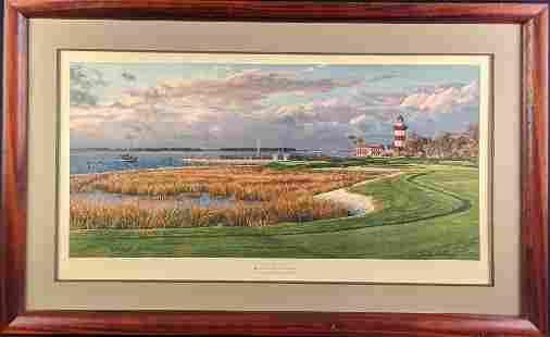 Framed Linda Hartough LE Litho Harbour Town Golf Links