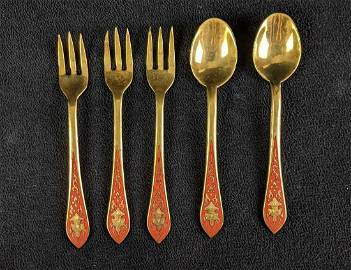 Vintage Thai Gold Toned Cocktail Forks and Spoons
