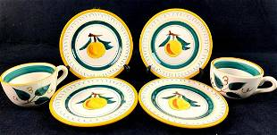"""6 Piece Cups & Saucers By Stangl """" Fruit """" Pattern"""