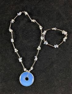 Gemstone Necklace and Bracelet Set Moonstone