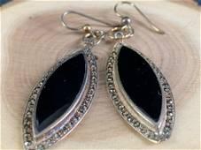 Vintage Sterling Silver Onyx & Marcasite Drop Earrings