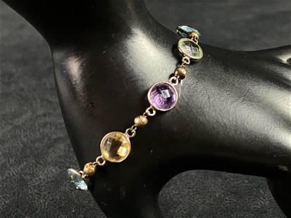 Vintage Multi Colored Glass Gems Sterling Bracelet