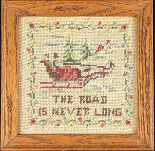 Framed Vintage Needlepoint The Road Is Never Long
