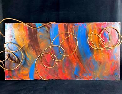 Original Signed A. Mercel Modern Abstract Multi Media