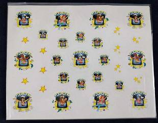 5 Sheets Disney Toon Stickers Mickey Aladdin Ariel