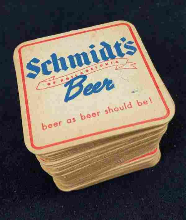 45 Vintage Schmidts Beer Ale Pub Bar Coasters 1950